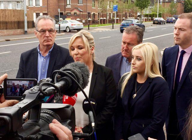 Michelle O'Neill, second left, speaks after Sinn Fein rejected the DUP bid (Siobhan Fenton/PA)