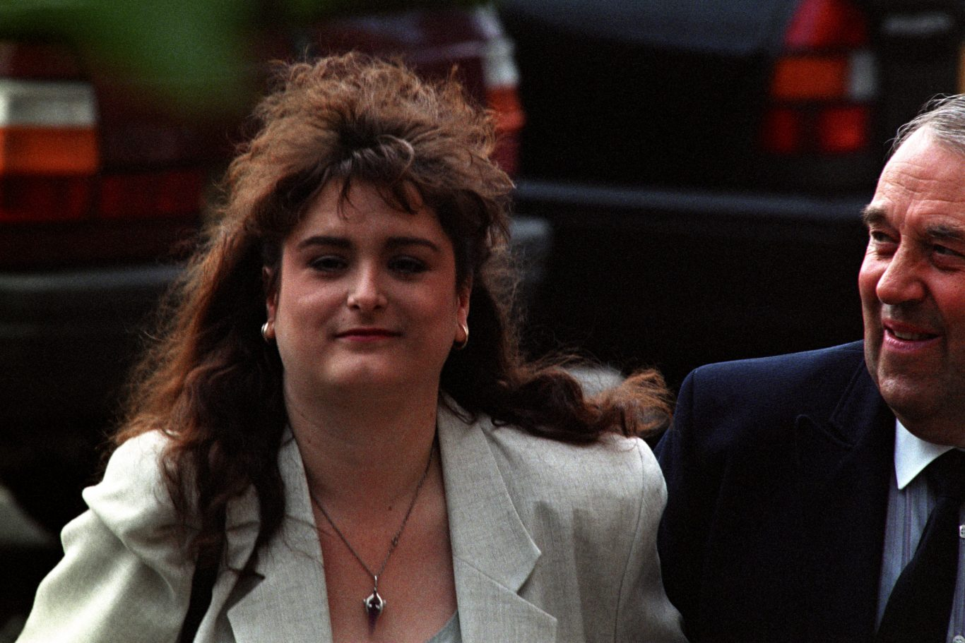 Stephanie Slater arrives at Nottingham Crown Court with her father Warren in 1993 (John Giles/PA)