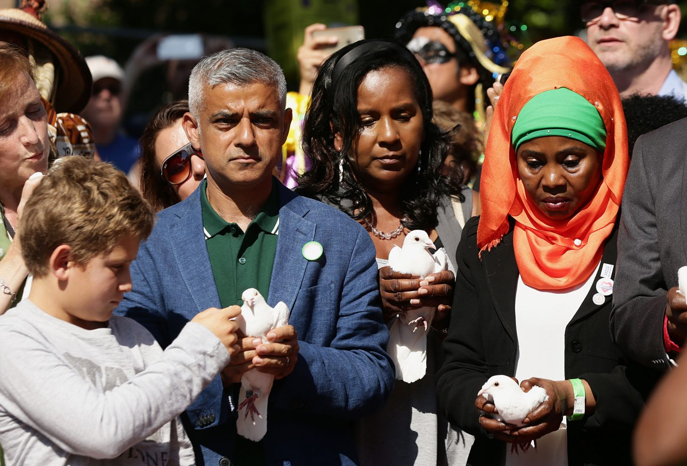 Mayor of London Sadiq Khan takes part in a release of doves as a show of respect for those who died in the Grenfell Tower fire, during the Notting Hill Carnival Family Day in west London (Yui Mok/PA)