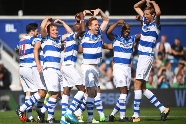 Team Ferdinand's (left to right) Captain singer Marcus Mumford, presenter Ben Shephard, Sir Mo Farah, Damian Lewis, DJ Spoony and Peter Crouch celebrate after Sir Mo Farah scores the first goal of the match during Game4Grenfell, (Victoria Jones/PA)