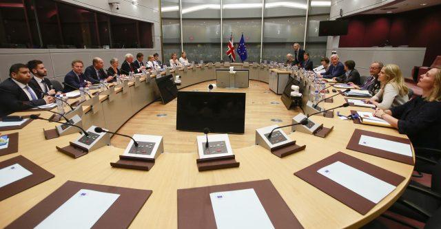 The negotiating teams. (Olivier Hoslet/AP/PA)