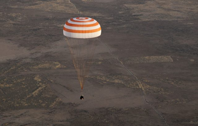 The space capsule coming in to land. (AP)