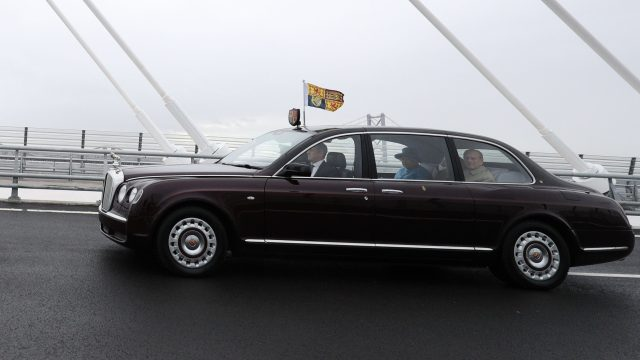 The Queen and the Duke of Edinburgh drove over the Queensbury Crossing