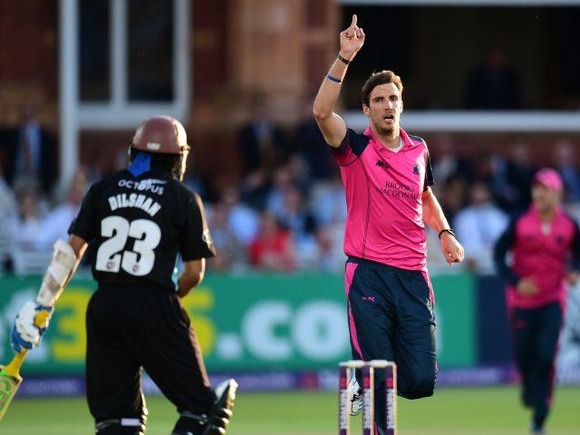 Middlesex's Steven Finn celebrates taking the wicket of Surrey's Tillakaratne Dilshan