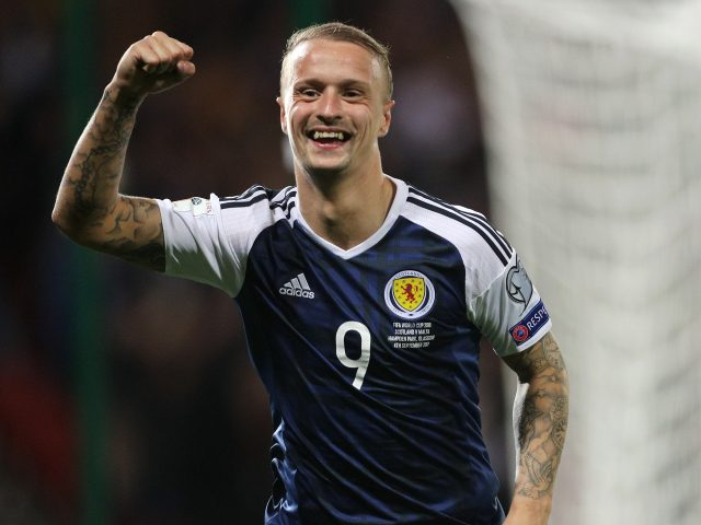 Scotland's Leigh Griffiths celebrates scoring side's second goal during the 2018 FIFA World Cup Qualifying match with Malta
