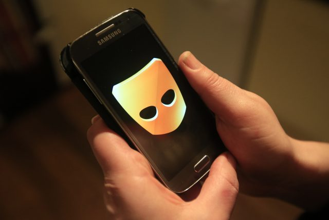 The Grindr app in use on a smartphone