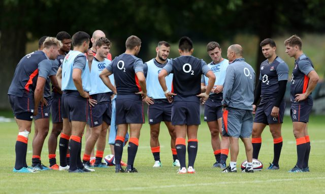 Eddie Jones and the England squad (Andrew Matthews/PA)
