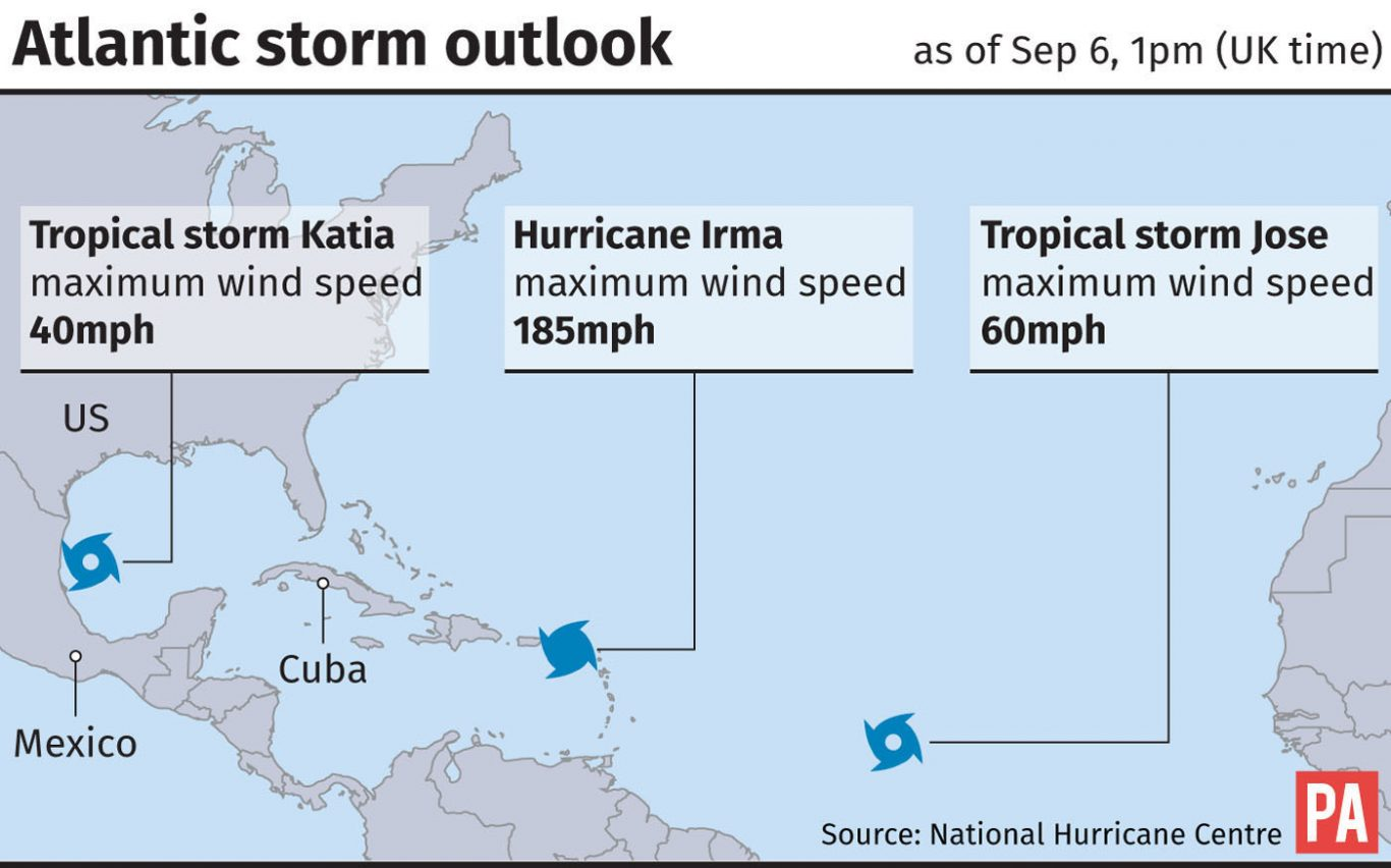 Atlantic storm outlook. See story WEATHER Hurricane. Editable files from PA Graphics