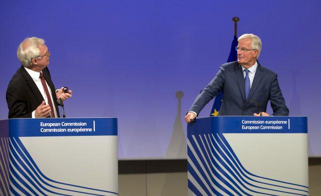 Brexit Secretary David Davis, left, and the EU's chief Brexit negotiator Michel Barnier