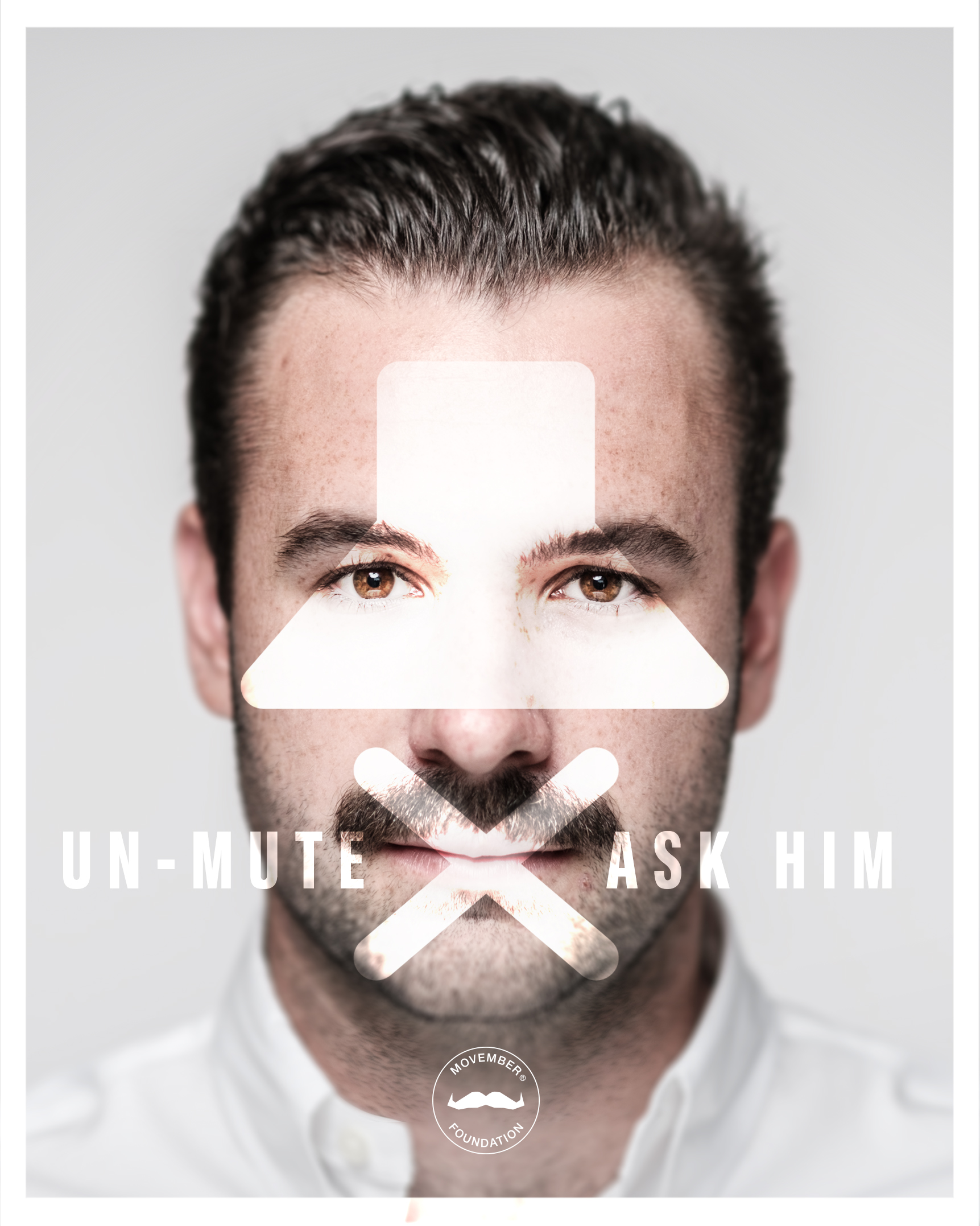 Campaign pic from Movember Foundation's Unmute - Ask Him campaign (Movember Foundation/PA)