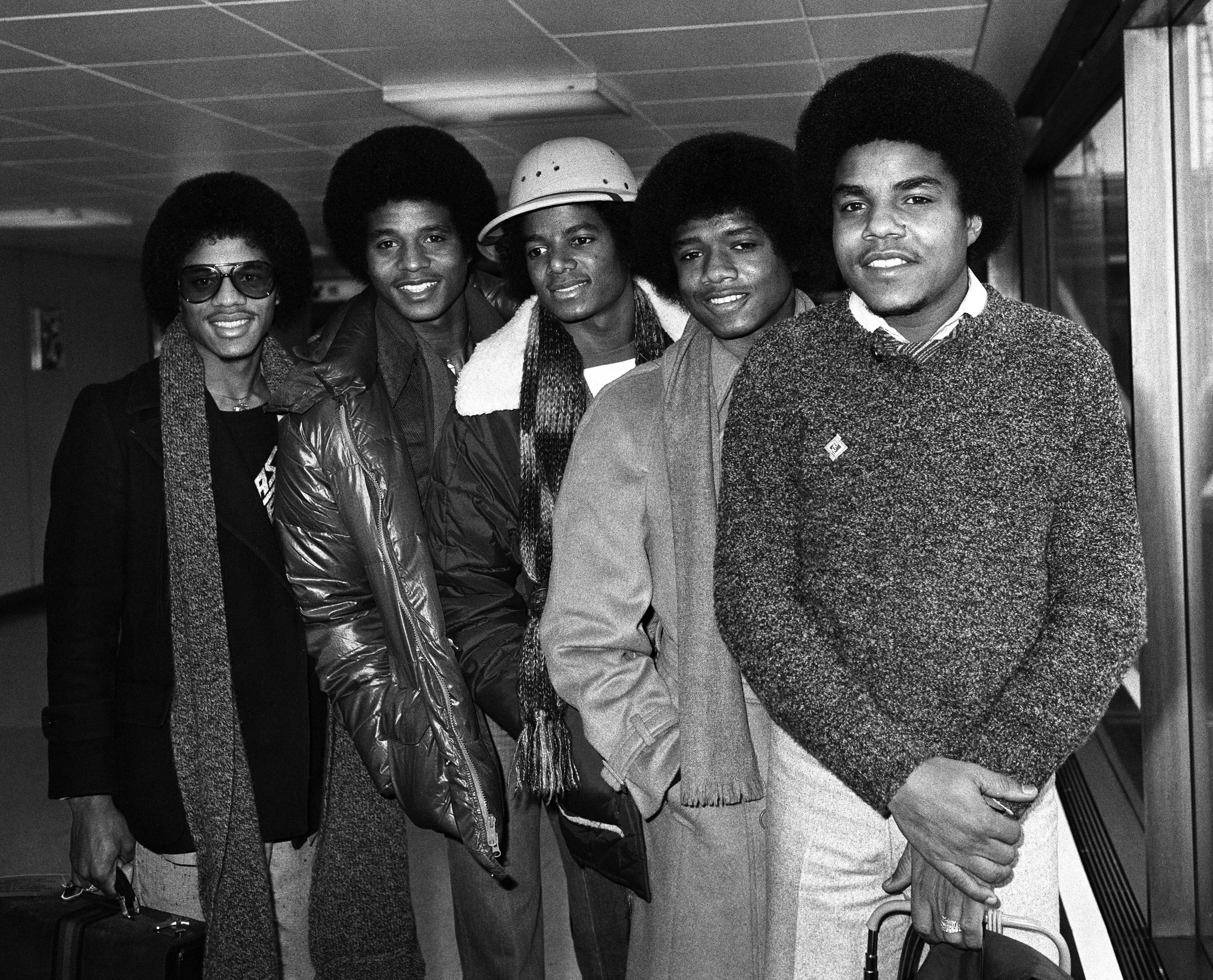 The Jacksons at Heathrow Airport in 1979 (PA Archive/PA)