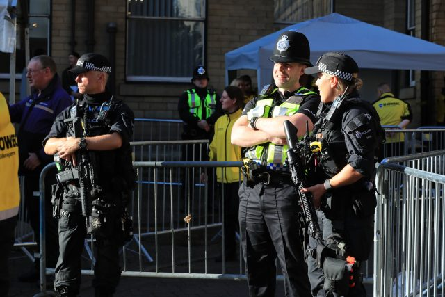 Police outside the Manchester Arena prior to the We Are Manchester benefit show