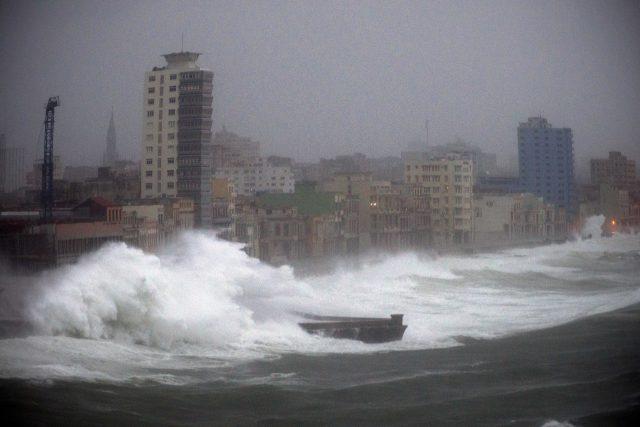 Strong waves hit the Malecon seawall in Havana Cuba
