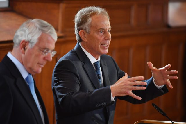 Mr Blair campaigned against Brexit along side fellow former prime minister Sir John Major (PA)
