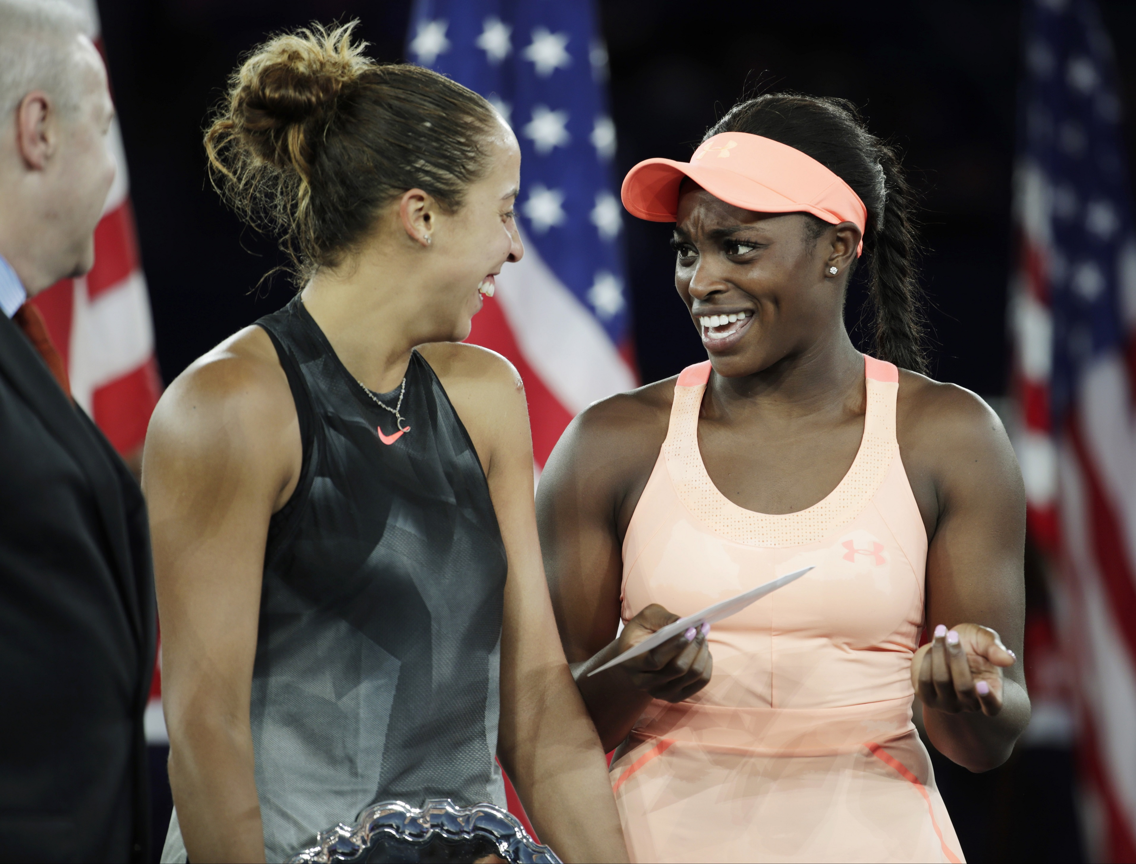Sloane Stephens talks to Madison Keys after winning the US Open