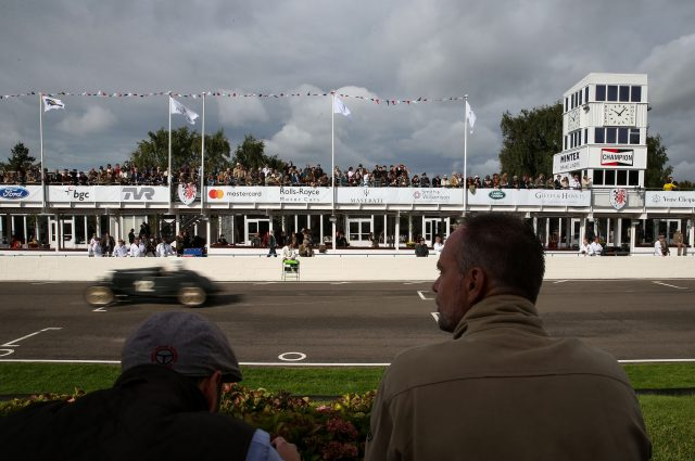 People watch the action from the Brooklands Trophy race (Andrew Matthews/PA)