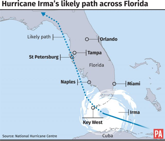 Hurricane Irma's likely path across Florida