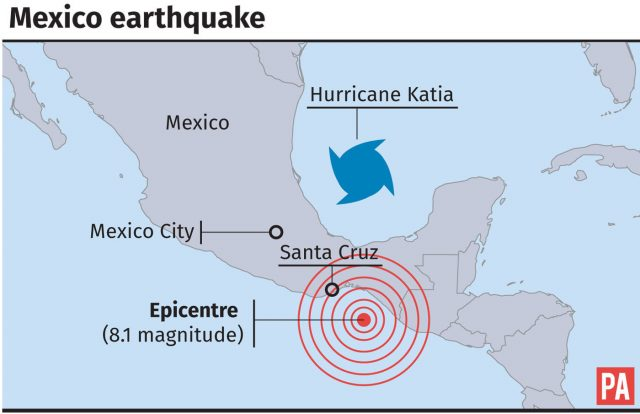 Location of the 8.1 magnitude earthquake which struck Mexico