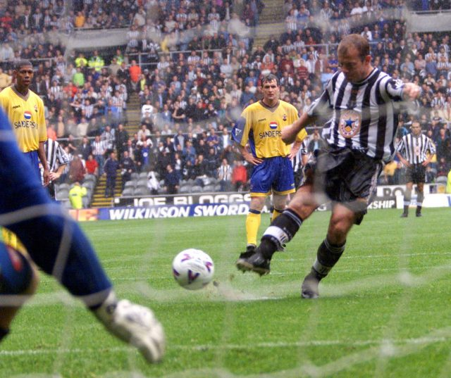 Newcastle's Alan Shearer scores his second goal, from the spot, as Newcastle go 2-0 ahead against Southampton