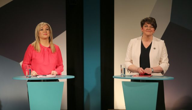 Michelle O'Neill and Arlene Foster. (Niall Carson/PA)