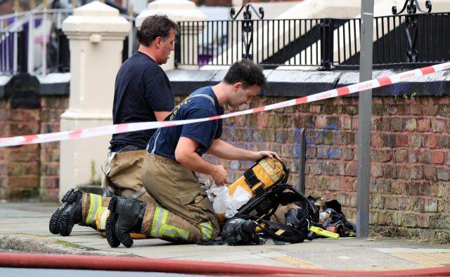Firefighers in Anfield Road