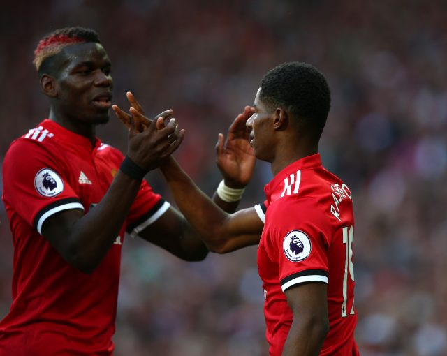 Marcus Rashford, right, celebrates with Paul Pogba