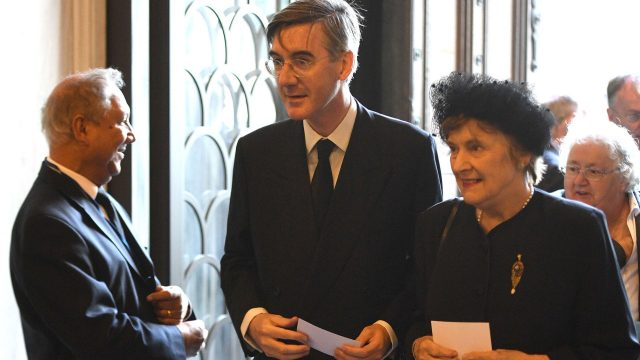 Jacob Rees-Mogg (centre) arriving at Westminster Cathedral in London for the funeral of Cardinal Cormac Murphy-O'Connor