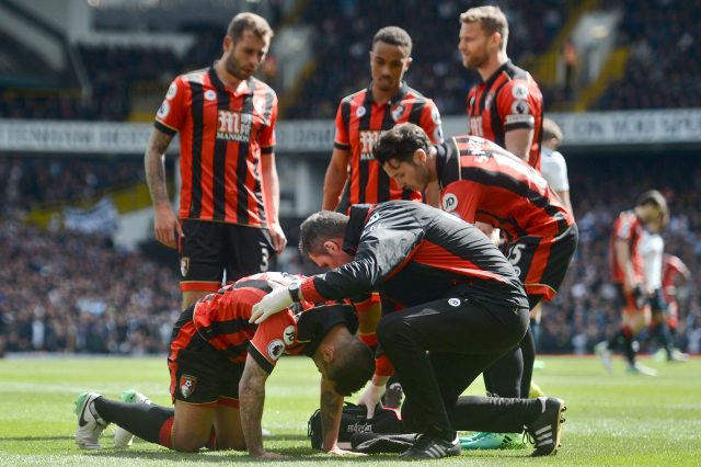 Jack Wilshere receives treatment for an injury while playing for Bournemouth last season