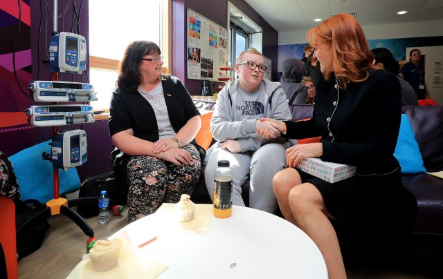 The Duchess of York (right) talks to Molly Hudson, 14 from Runcorn