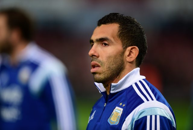 Carlos Tevez before an Argentina game