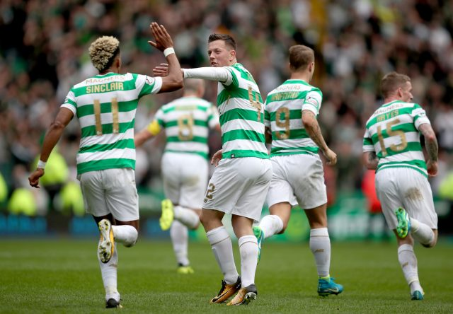 Callum McGregor celebrates with Scott Sinclair