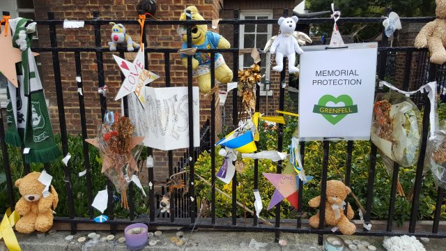Tributes left outside Notting Hill Methodist Church in Notting Hill prior to the start of the Grenfell Tower fire inquiry