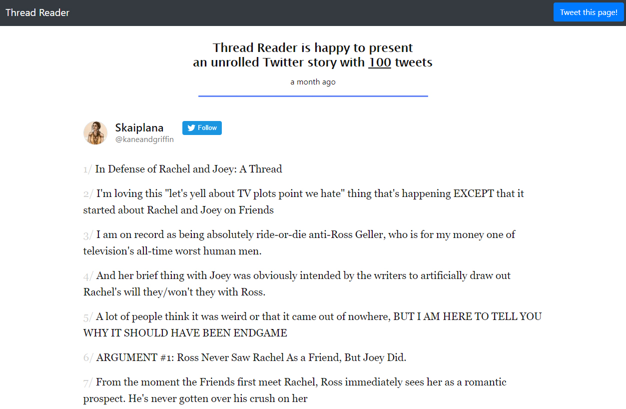 Thread Reader unrolls Twitter stories