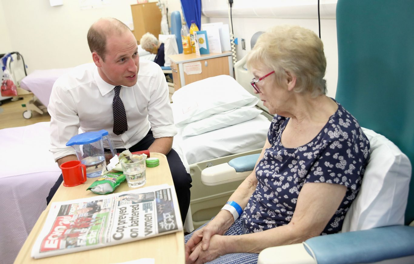 The Duke of Cambridge chats with patient Edna Dagnall in the Frailty unit during his visit to Aintree University Hospital (Chris Jackson/PA)