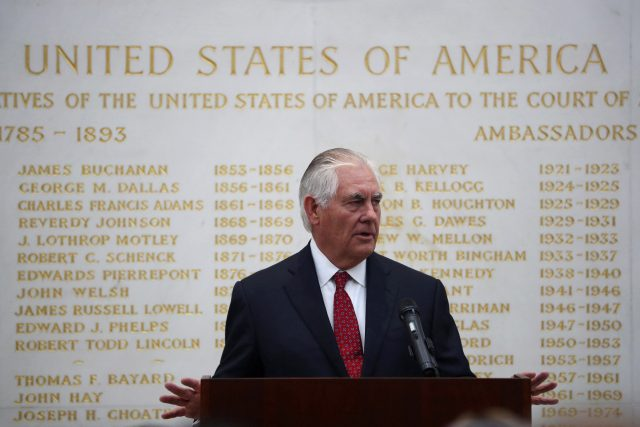 US Secretary of State Rex Tillerson speaks at the US Embassy in London (Hannah McKay/AP/PA)