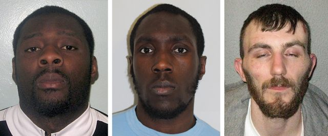 Left to right, Basana Kimbembi, 35, Joshua Ratner, 27, and Robert Butler, 31, have denied murdering Jamal Mahmoud (Metropolitan Police/PA)