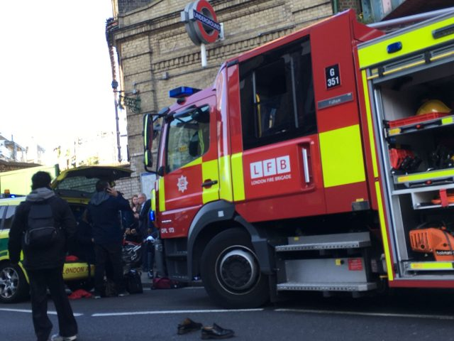 Emergency services attending an incident at Parsons Green station in west London amid reports of an explosion
