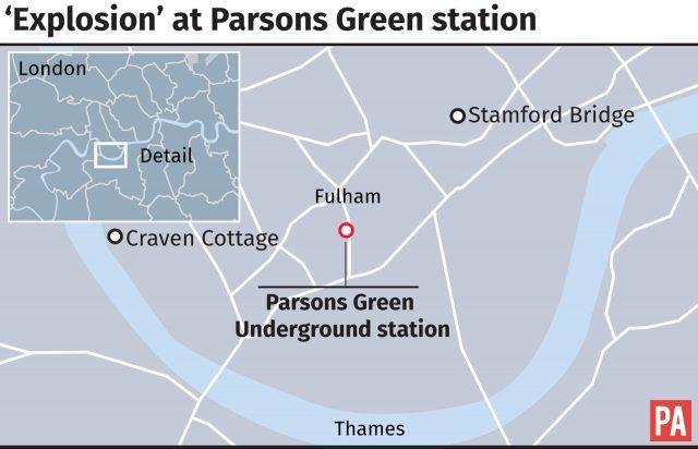 Graphic locates Parsons Green Underground station