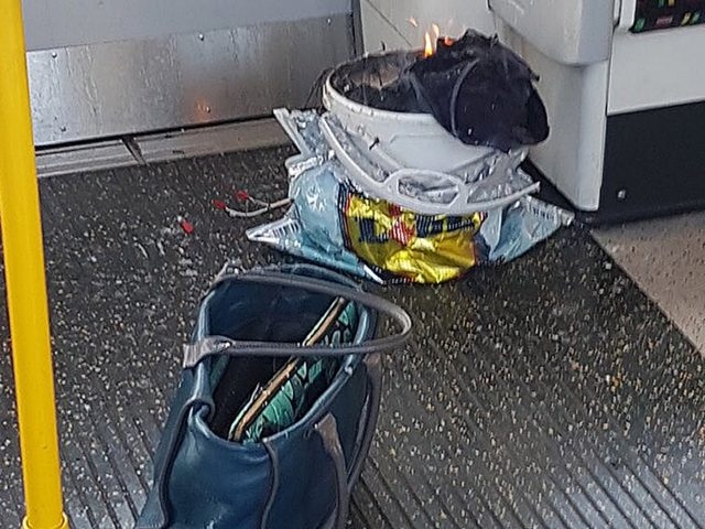 A bucket on fire on a tube train at Parsons Green station in west London