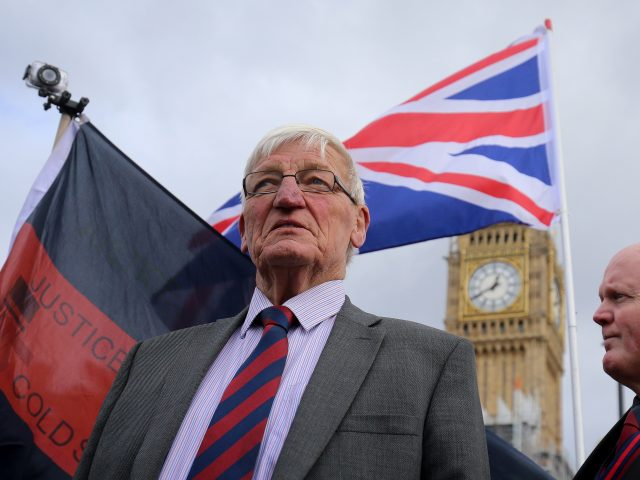 Former British soldier Dennis Hutchings during the protest