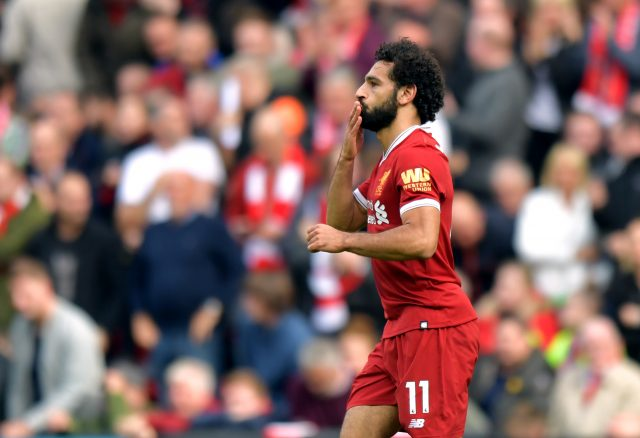 Mohamed Salah celebrates his equaliser