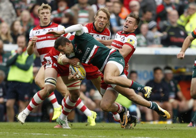Gloucesters' Henry Trinder and Leicester Tigers' Jonny May