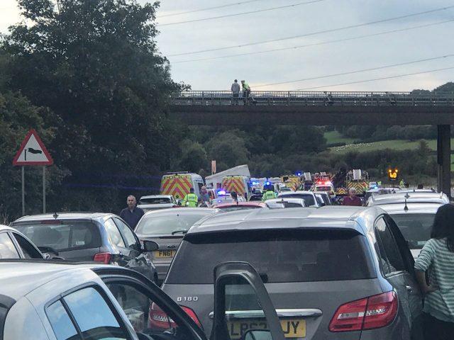 Traffic queues after the crash