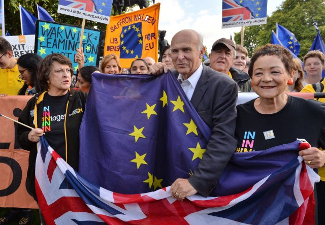 Sir Vince joins an anti-Brexit protest. (John Stillwell/PA)
