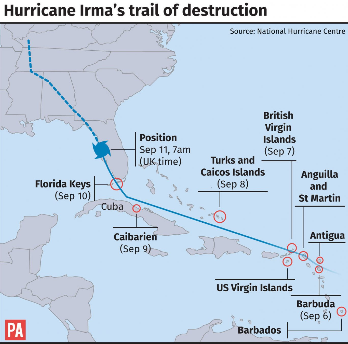Hurricane Irma What Are The UKs Duties Towards The Caribbean - Mental health needed in us virgin islands on a map