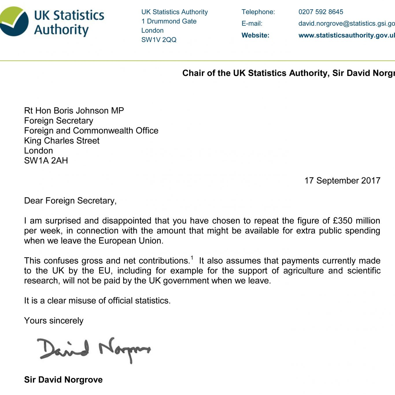 A letter sent by Sir David Norgrove to Boris Johnson saying he is