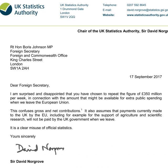 "A letter sent by Sir David Norgrove to Boris Johnson saying he is ""surprised and disappointed"" that he has revived the widely-discredited pledge that up to £350 million a week extra could be spent on the NHS after Brexit"