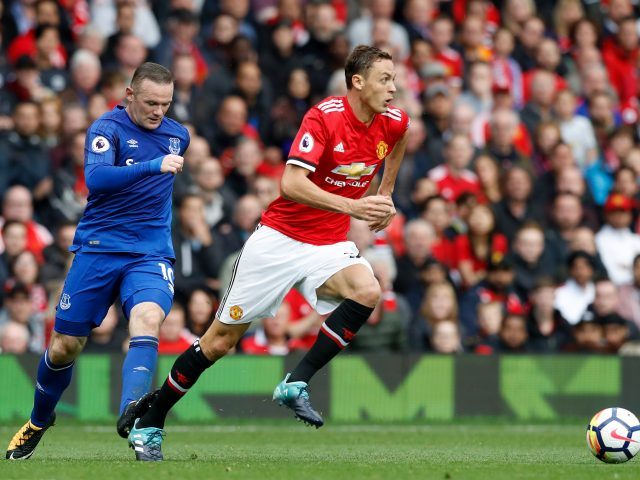 Everton's Wayne Rooney catches Manchester United's Nemanja Matic on the heel during the Premier League match at Old Trafford
