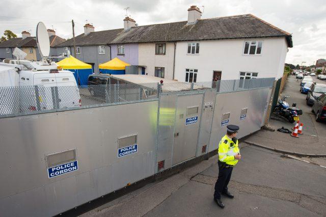 Police at a cordon on Cavendish Road, in Sunbury-on-Thames (Dominic Lipinski/PA)