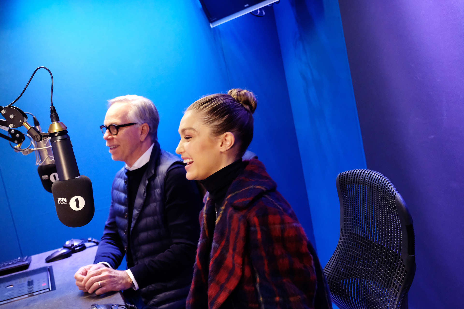 Gigi Hadid and Tommy Hilfiger in the studio.